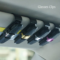 Car Glasses Clips Carbon Fiber Card Pen Holder 180 Degree