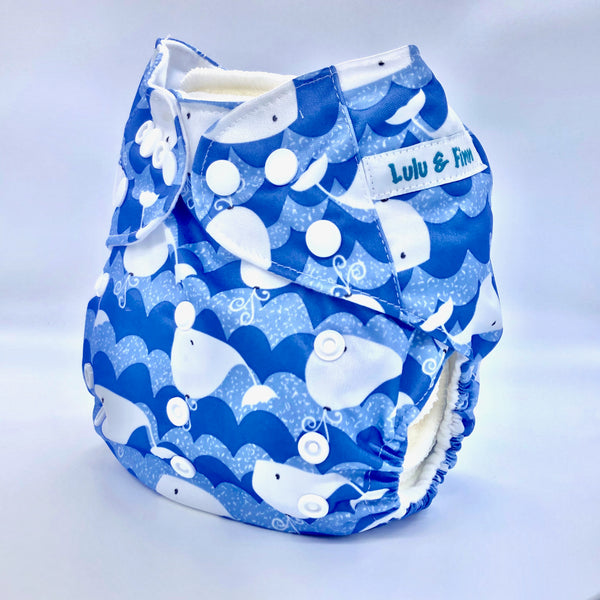 Lulu & Finn Blue Whales Print Modern Cloth Nappy