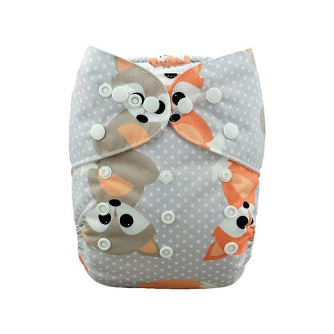 Alva Baby Polka Dot Fox Print Modern Cloth Nappy