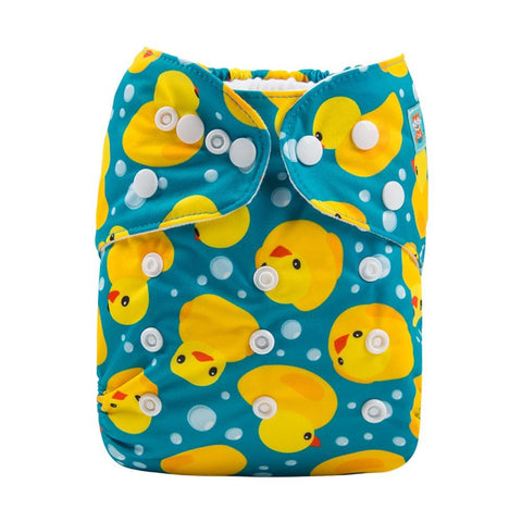 Alva Baby Rubber Duckies Print Modern Cloth Nappy