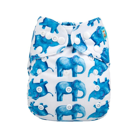 Alva Baby Blue Elephants Print Modern Cloth Nappy