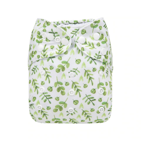 Alva Baby Gentle Greenery Print Modern Cloth Nappy