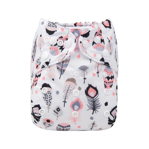 Alva Baby Boho Feathers Print Modern Cloth Nappy