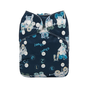 Alva Baby Animals Train Print Modern Cloth Nappy
