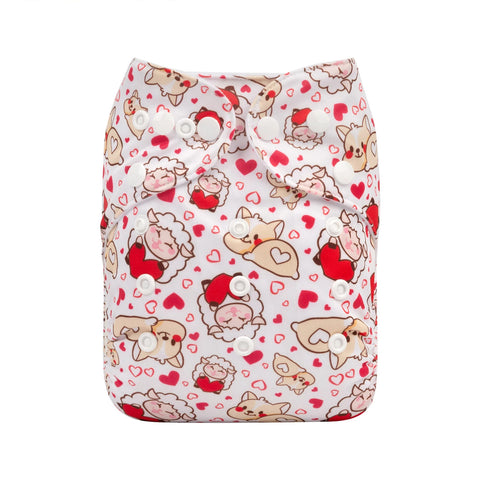 Alva Baby Loving Puppies & Sheep Print Modern Cloth Nappy