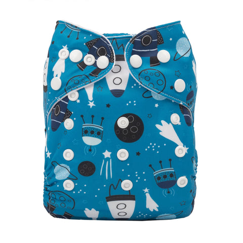 Alva Baby Twilight Space Adventure Print Modern Cloth Nappy