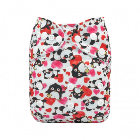 Alva Baby Loving Pandas & Penguins Print Modern Cloth Nappy