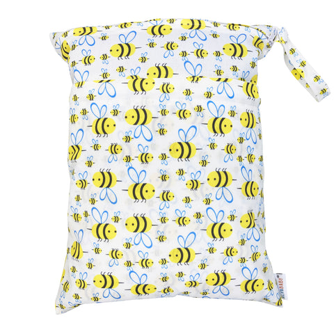Alva Baby Bees Print Medium Double Zip Wet Bag