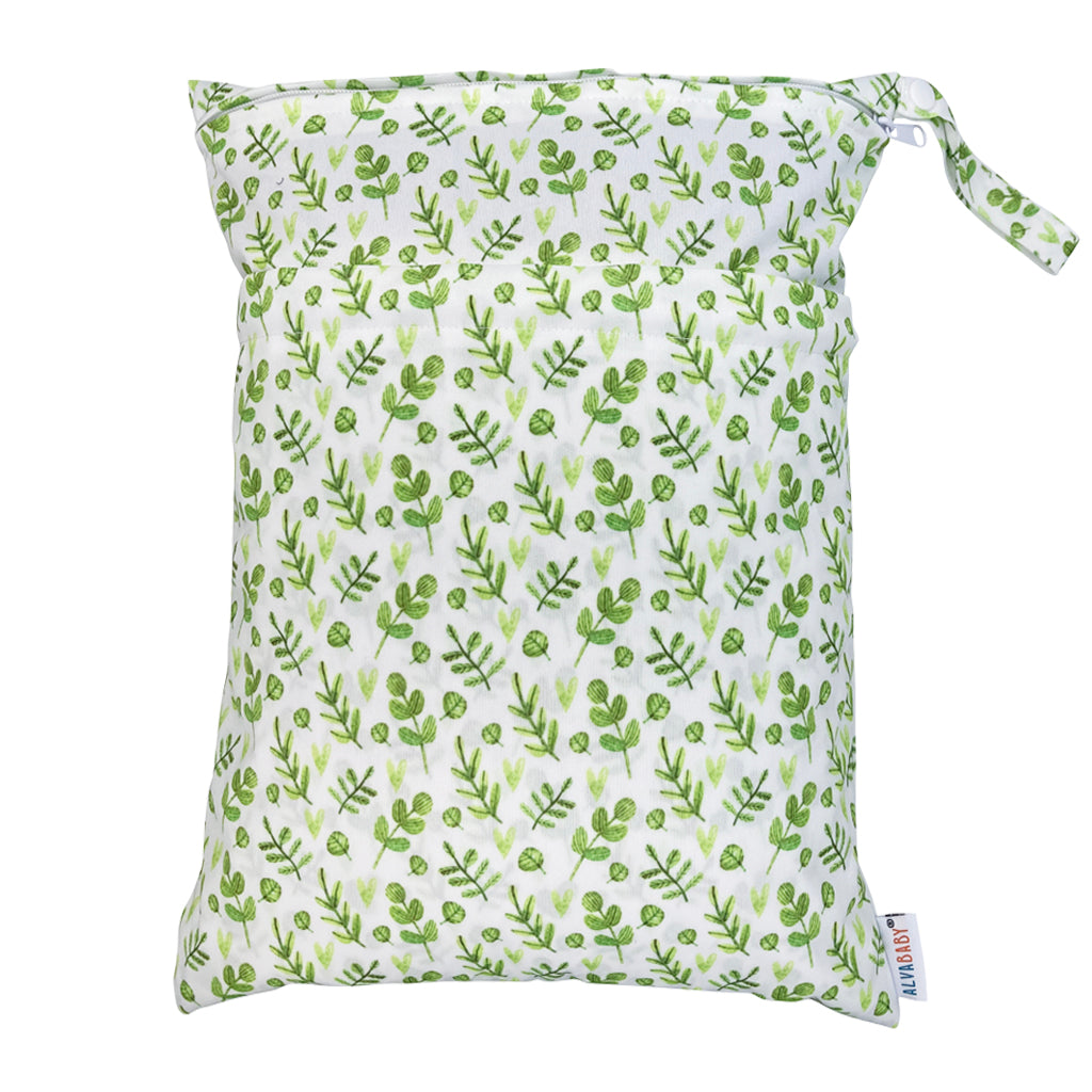 Alva Baby Gentle Greenery Print Medium Double Zip Wet Bag