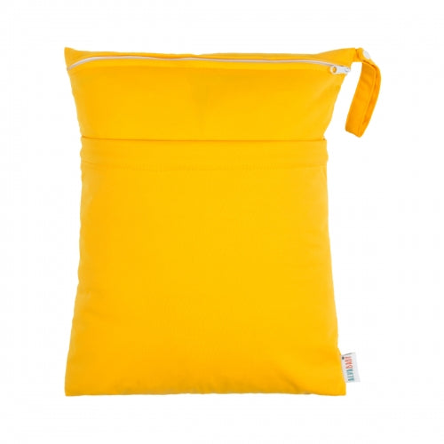 Alva Baby Solid Golden Yellow Medium Double Zip Wet Bag