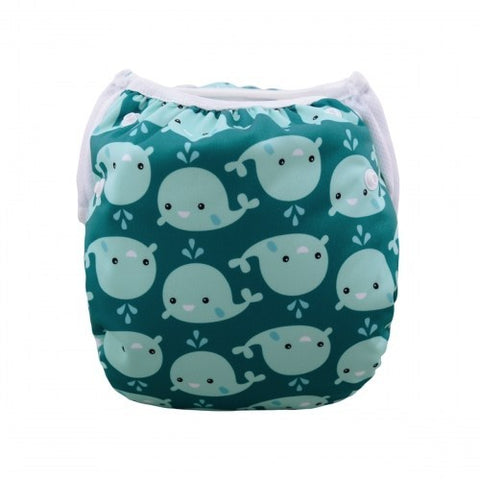 Alva Baby Whales Print Modern Cloth Swim Nappy
