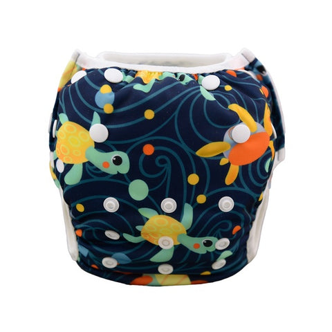 Alva Baby Sea Turtles Print Modern Cloth Swim Nappy