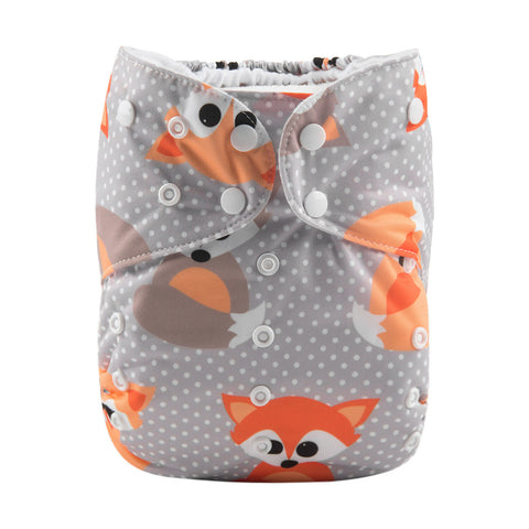 Alva Baby Polka Dot Fox Print Big Junior XL Modern Cloth Nappy