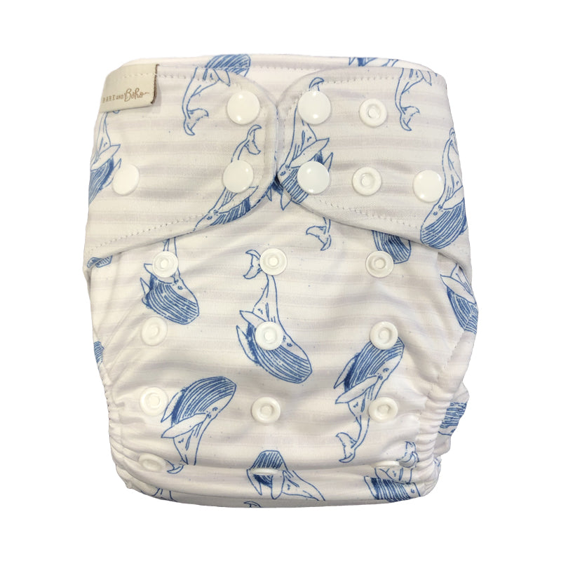 Bare and Boho Striped Whales Print Double Gusset Modern Cloth Nappy