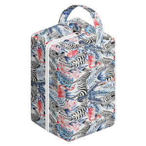 Nappy Box Co Zebras & Flamingos Print Nappy Pod Zip Wet Bag