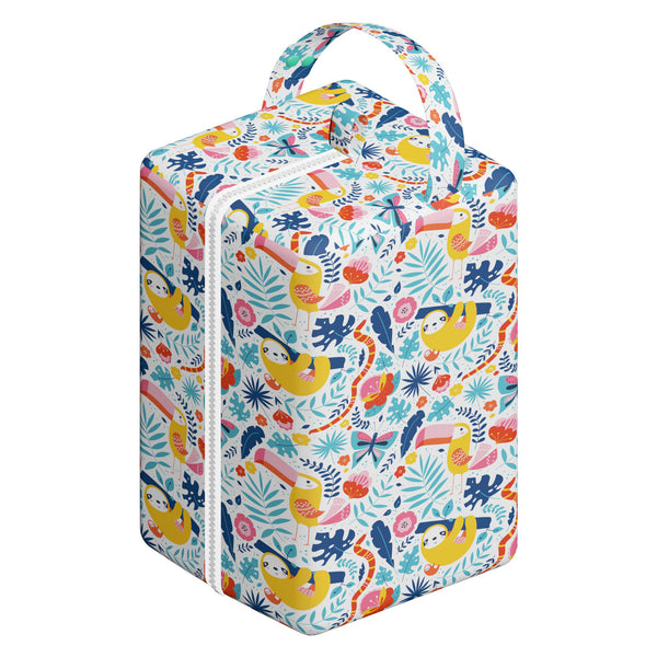 Nappy Box Co Tucans & Sloths Print Nappy Pod Zip Wet Bag