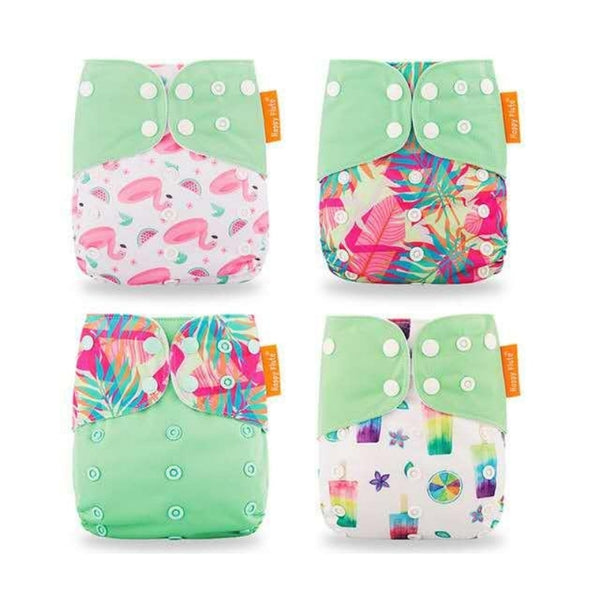 Happy Flute Summer Time Modern Cloth Nappy 4 Pack Bundle w/ Bamboo Cotton Inserts