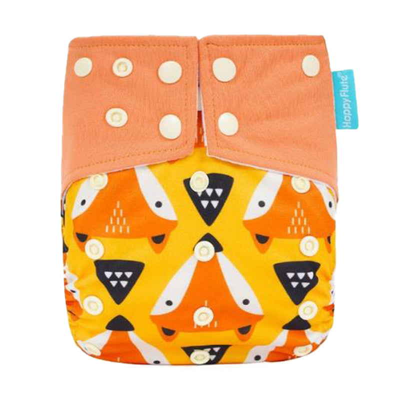 Happy Flute Tribal Foxes Print Double Gusset Modern Cloth Nappy