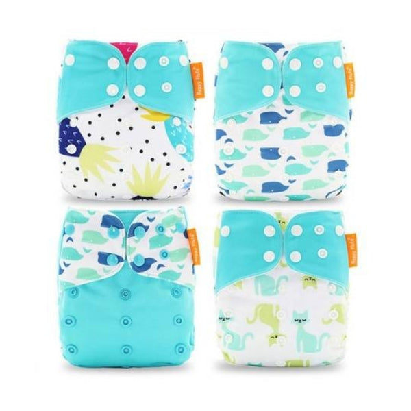 Happy Flute Whales, Pineapples & Cats Modern Cloth Nappy 4 Pack Bundle w/ Bamboo Cotton Inserts