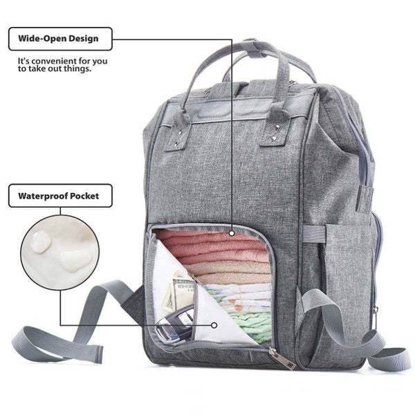 LeQueen Two Tone Black & Grey Deluxe Multi-Functional Nappy Bag Backpack