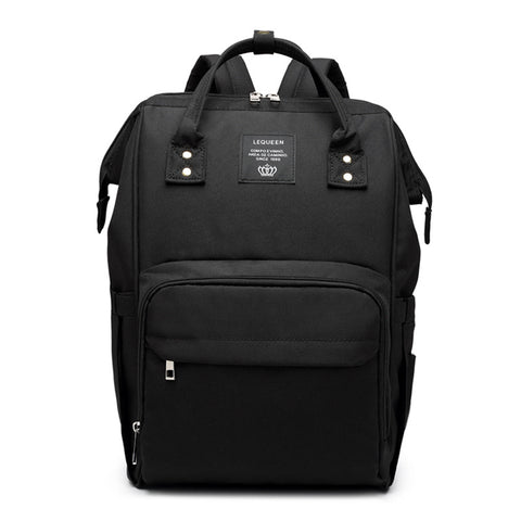 LeQueen Black Deluxe Multi-Functional Nappy Bag Backpack
