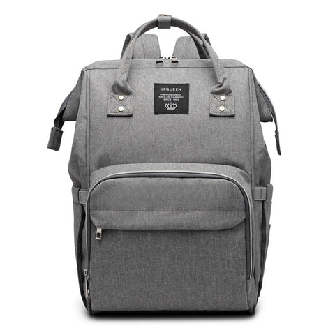 LeQueen Grey Deluxe Multi-Functional Nappy Bag Backpack