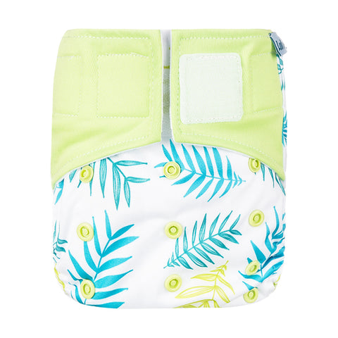 Lulu & Finn Ferns Print Hook And Loop Double Gusset Modern Cloth Nappy