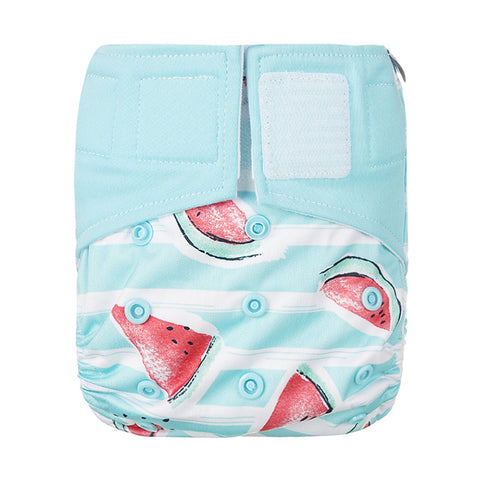 Lulu & Finn Watermelons Print Hook And Loop Double Gusset Modern Cloth Nappy