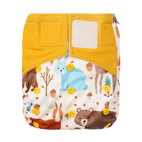Lulu & Finn Woodlands Print Hook And Loop Double Gusset Modern Cloth Nappy