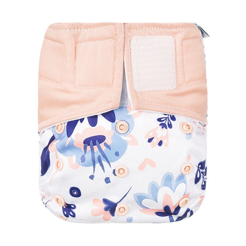 Lulu & Finn Floral Pastel Print Hook And Loop Double Gusset Modern Cloth Nappy