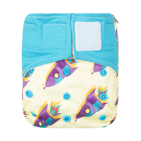 Lulu & Finn Rocketships Print Hook And Loop Double Gusset Modern Cloth Nappy