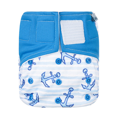Lulu & Finn Anchors Print Hook And Loop Double Gusset Modern Cloth Nappy