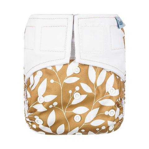 Lulu & Finn Golden Leaves Print Hook And Loop Double Gusset Modern Cloth Nappy