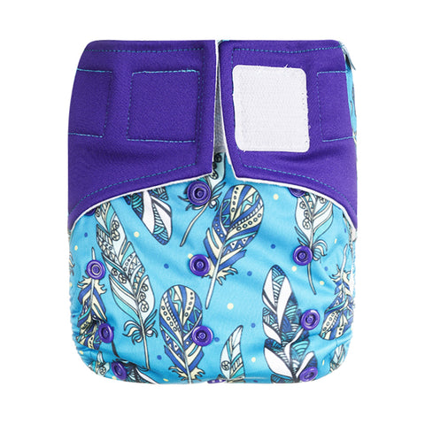 Lulu & Finn Tribal Feathers Print Hook And Loop Double Gusset Modern Cloth Nappy