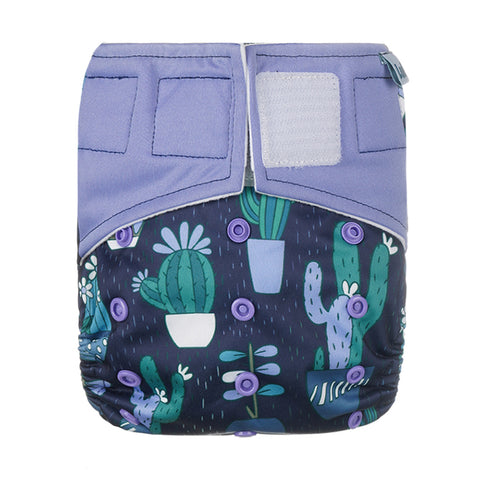 Lulu & Finn Cactuses Print Hook And Loop Double Gusset Modern Cloth Nappy