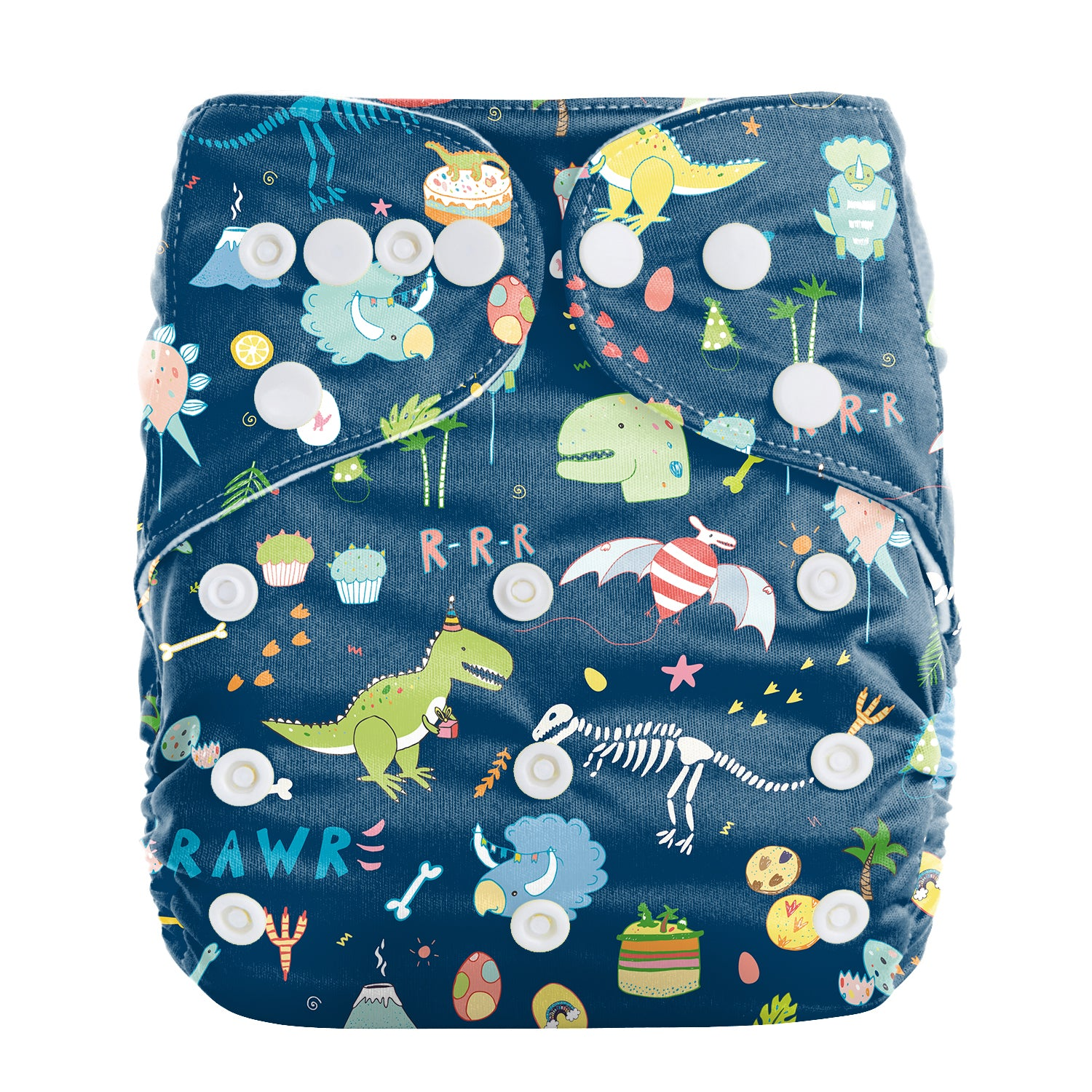 Lulu & Finn Dinosaur Party Print Modern Cloth Nappy