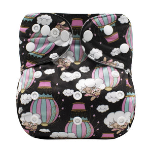 Lulu & Finn Nighttime Hot Air Balloons Print Modern Cloth Nappy