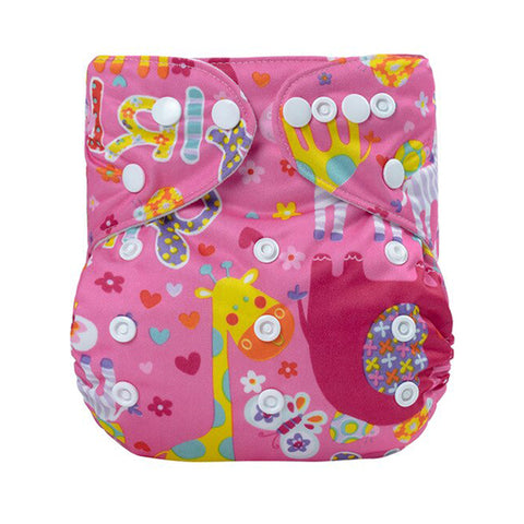 Lulu & Finn Animals Pink Print Modern Cloth Nappy