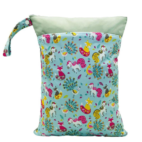 Nappy Box Co Enchanted Forest Print Medium Double Zip Wet Bag