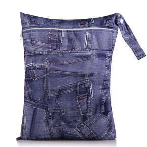 Nappy Box Co Denim Print Medium Double Zip Wet Bag