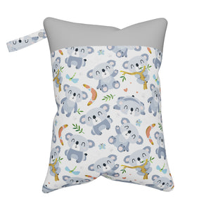 Nappy Box Co Cute Koalas Print Medium Double Zip Wet Bag