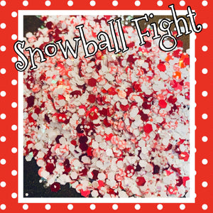 SNOWBALL FIGHT red/white/snowflake mix