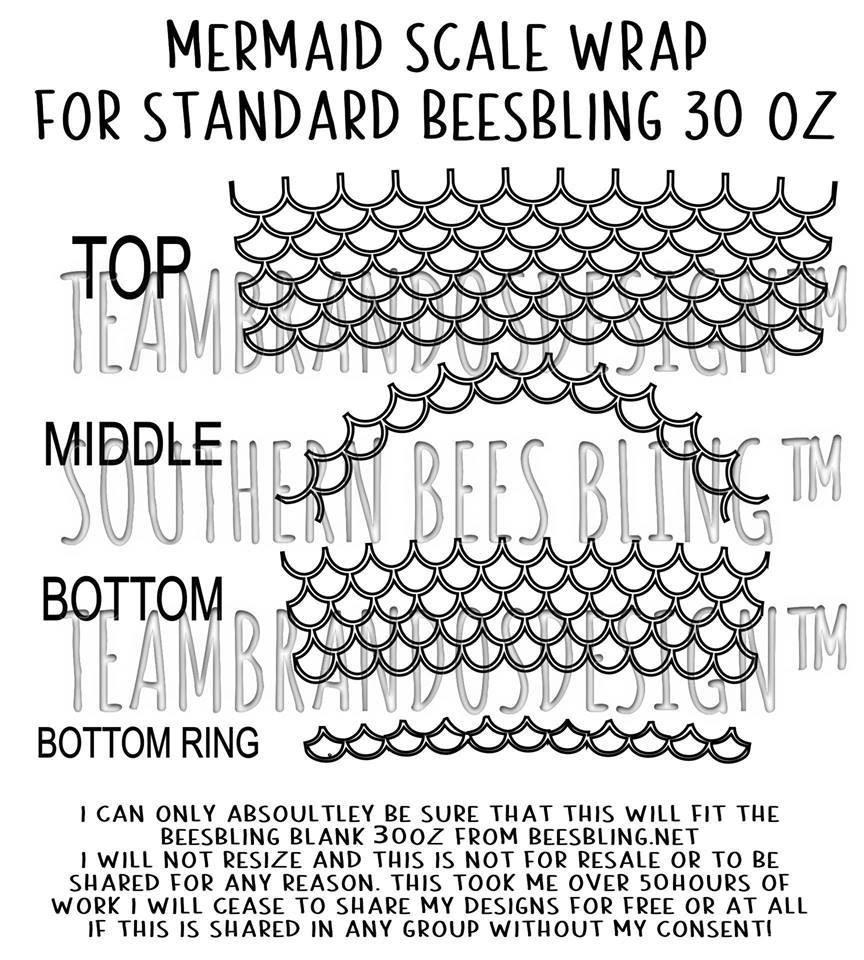 30 OZ MERMAID SCALE FILE FOR BEESBLING BLANK TUMBLER