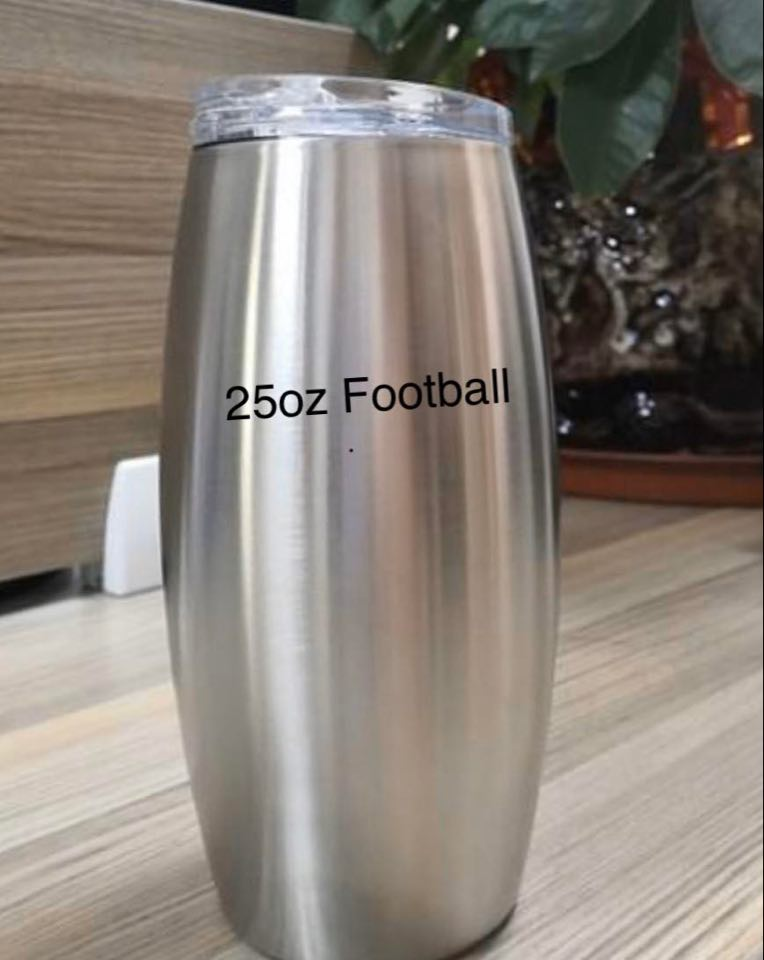 25oz Football Wine BeesBling Blank
