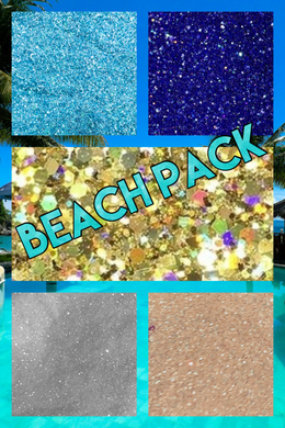 *NEW OPTIONS*BEACH THEME GLITTER PACK NOW w/opaque white