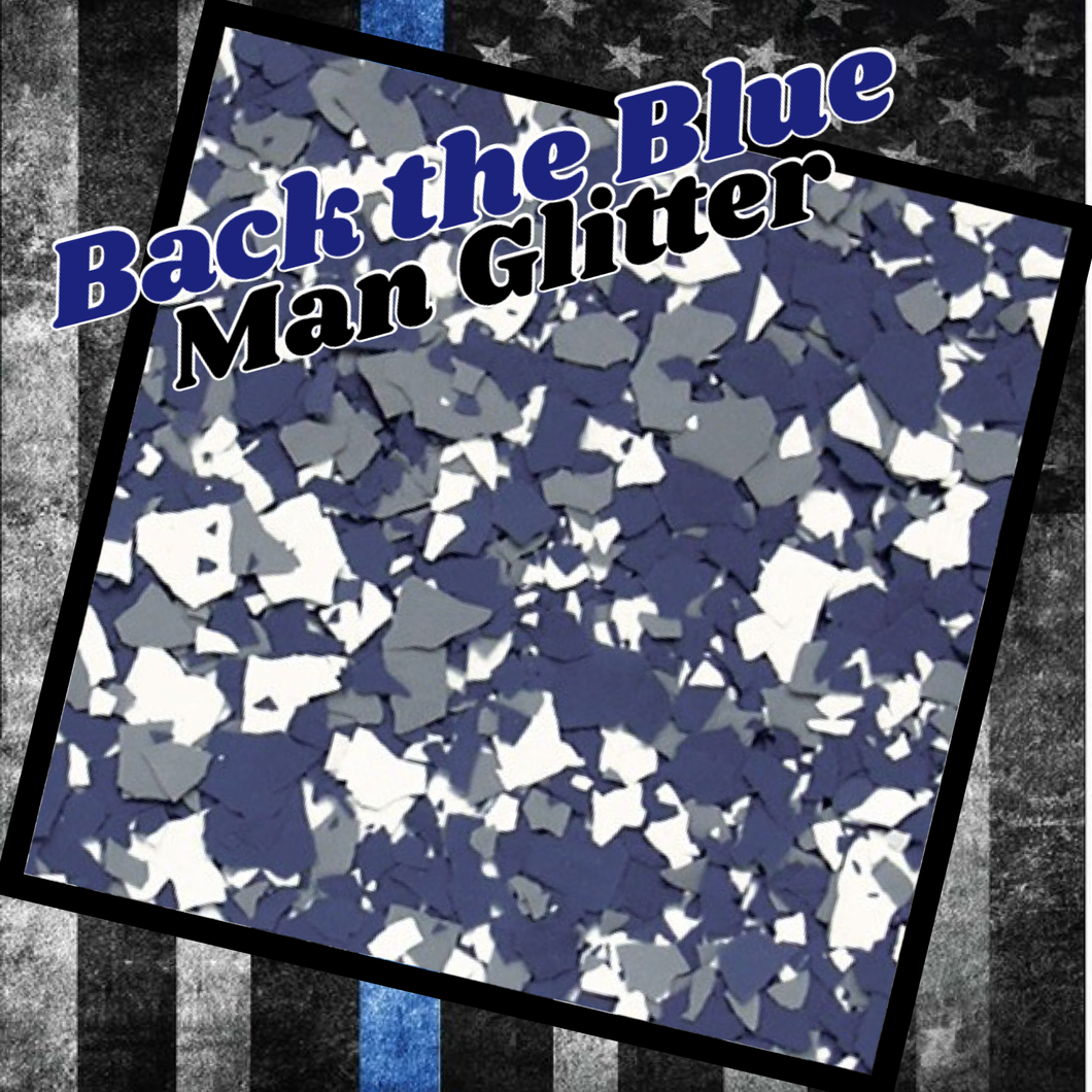 Back the Blue - man glitter