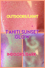 "Load image into Gallery viewer, ""Tahiti Sunset"" pink-yellow UV Glow Semi Opaque fine/extra fine glitter"