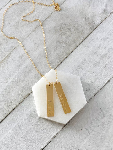 Stacked Ava Necklace, gold bar necklace, personalized