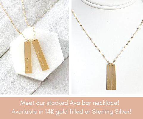 Stacking Ava Necklace, gold personalized necklace