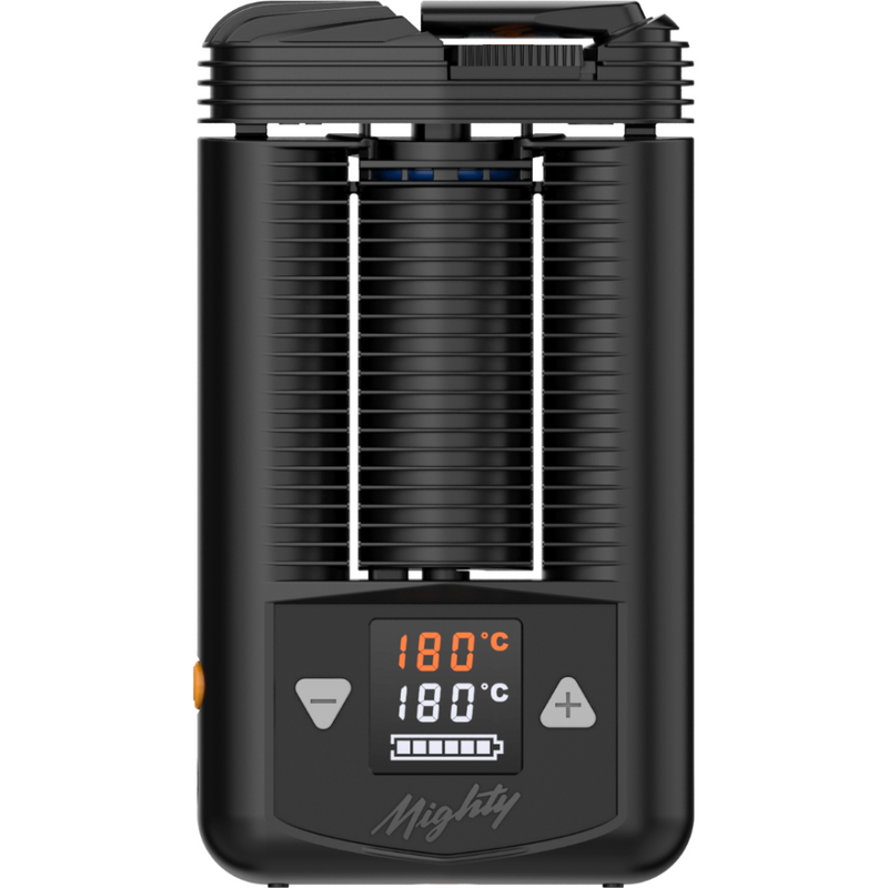 Large black and ribbed vaporizer with small screen